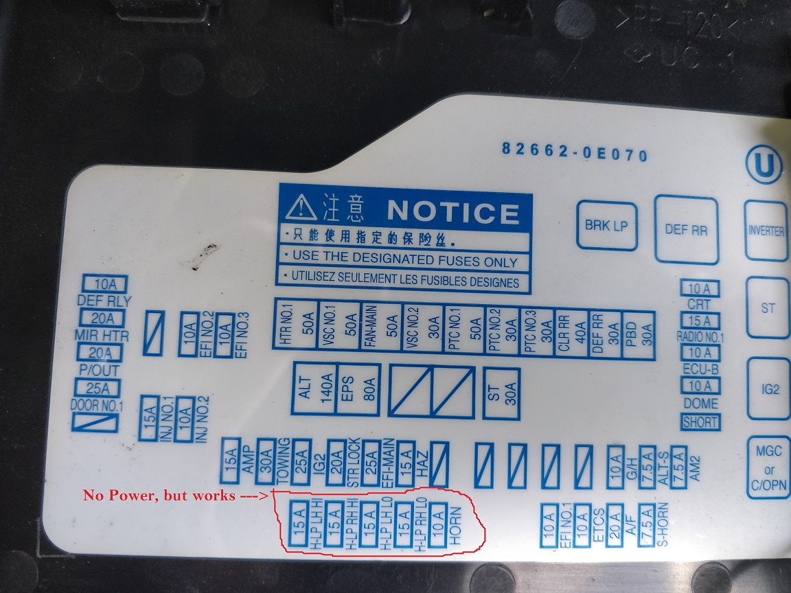 Highlander Fuse Box Expert Schematics Diagram 2008 Toyota Panel 2009 Help Works But Wont Light Up 2013