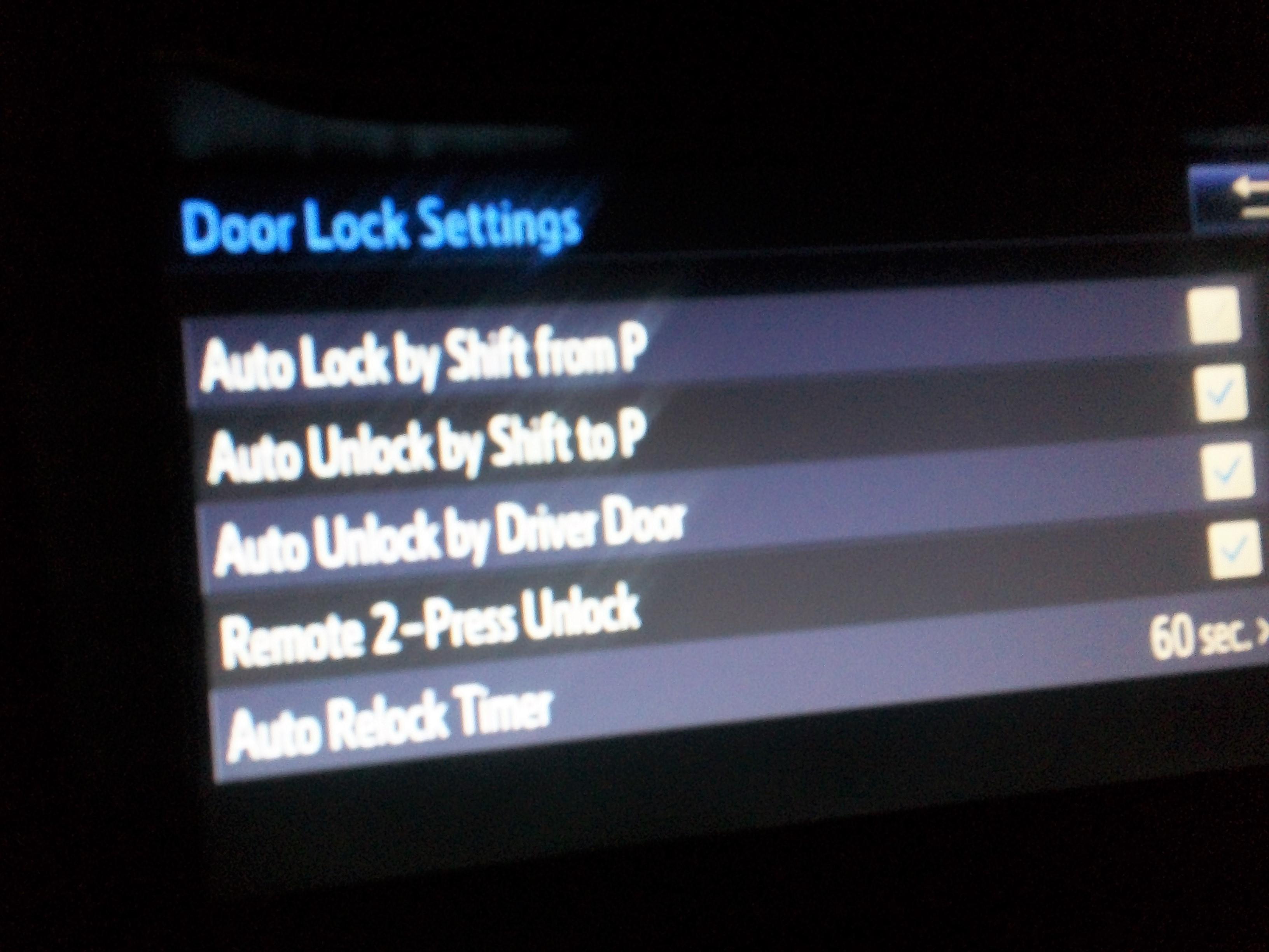 2017 Le Display Settings Auto Unlock Toyota Nation Forum