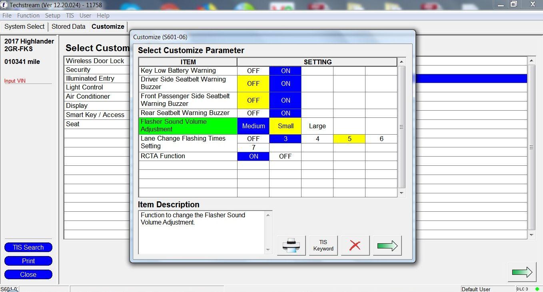 Where is seatbelt chime option in Techstream v12 30 017