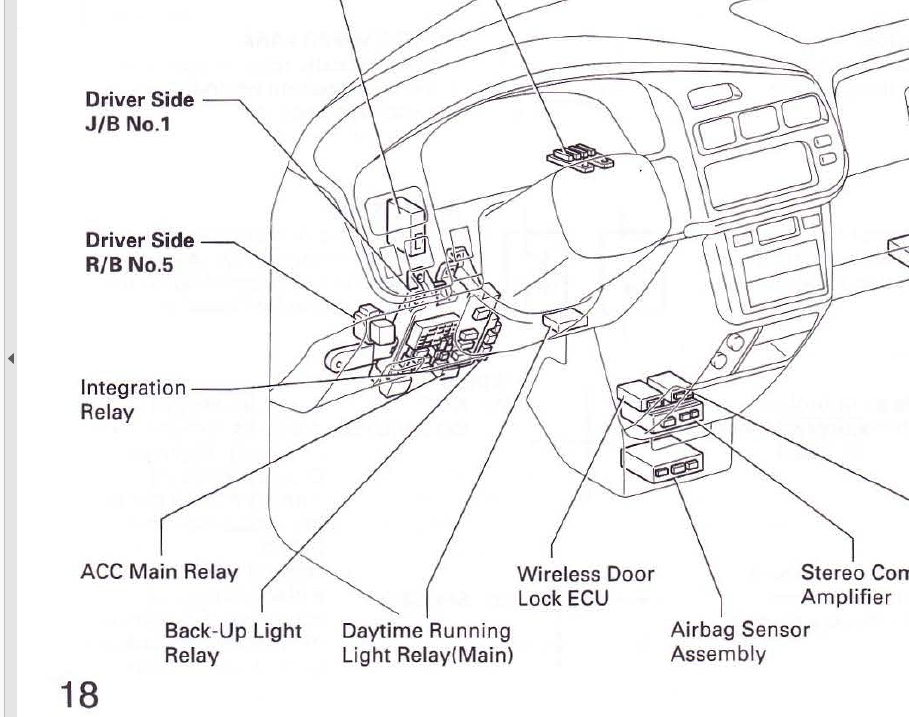 Where is the Power Relay for the 2002 Sienna XLE front