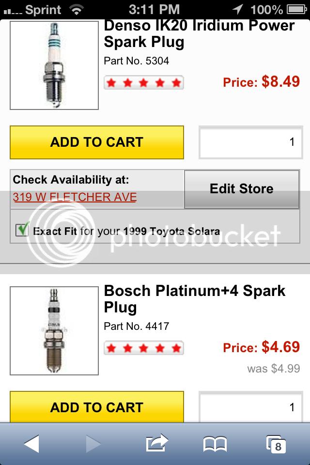 1999 Solara spark plug change (4-cylinder I think) | Toyota ... on autozone mufflers, autozone oil, autozone fog lights, autozone battery,