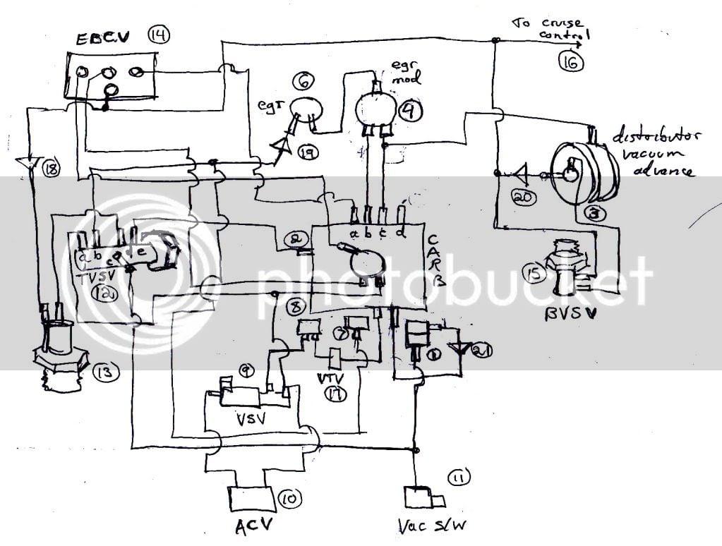Vac Hose Diagram For  U0026 39 89 Corolla Le