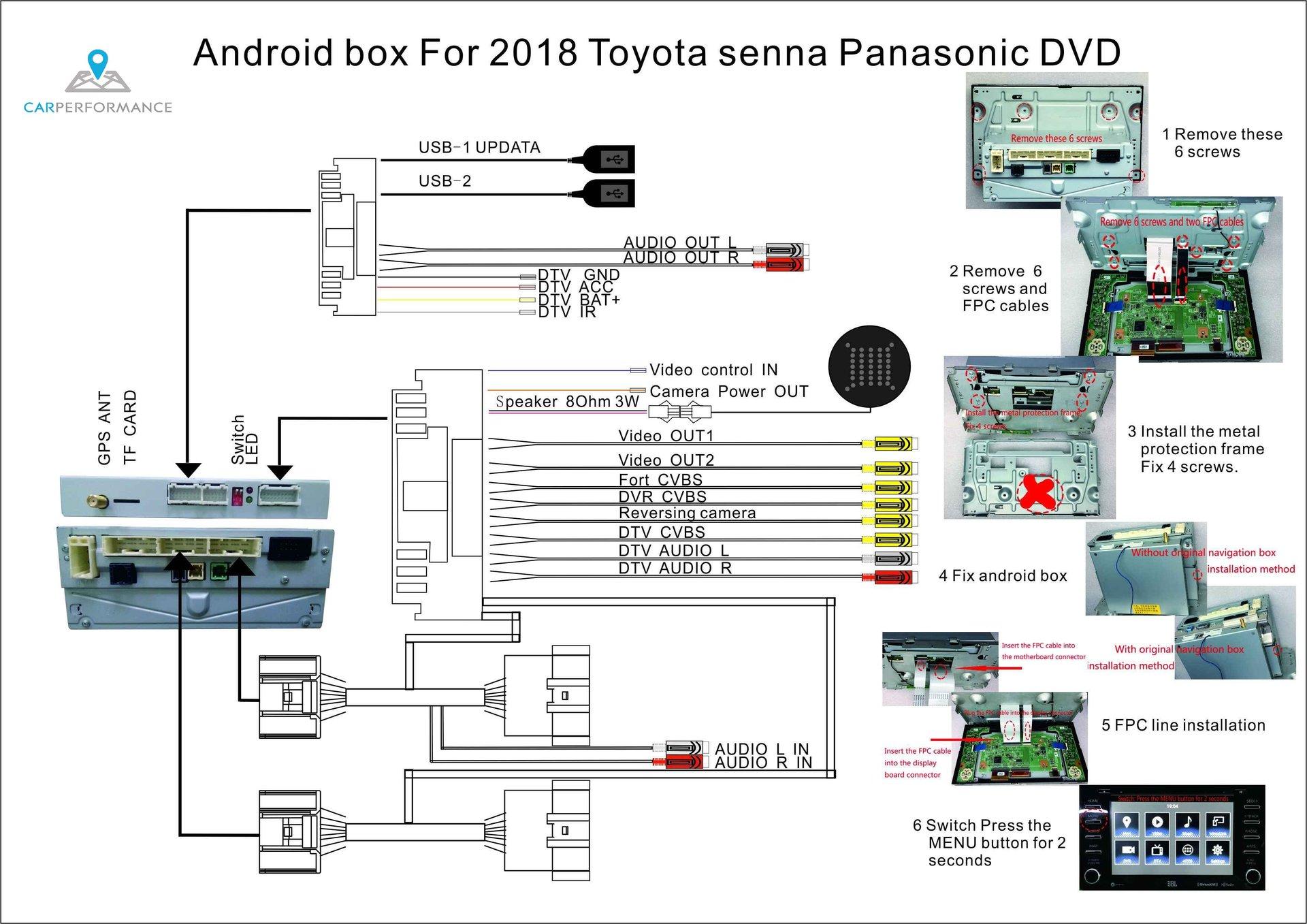 Toyota Sienna 2018 Xle Head Unit    Radio Wiring Harness
